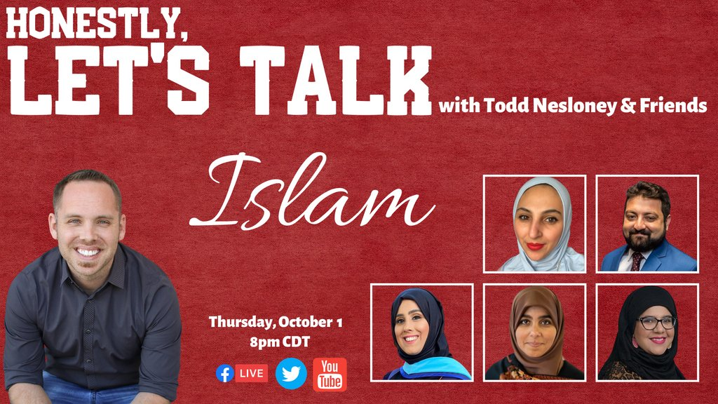 Don't miss a BRAND NEW episode of Honestly, #LetsTalk TONIGHT at 8pm CDT. It's all about #Islam.  Join on Facebook: https://t.co/kS42StIjY7  Join on YouTube: https://t.co/0pv43Xh7FM  #TellYourStory #Muslim #Podcast #webseries #KidsDeserveIt #TLAP #WhenKidsLead #LeadLAP #WeLeadTX https://t.co/sdpDw6DNfh