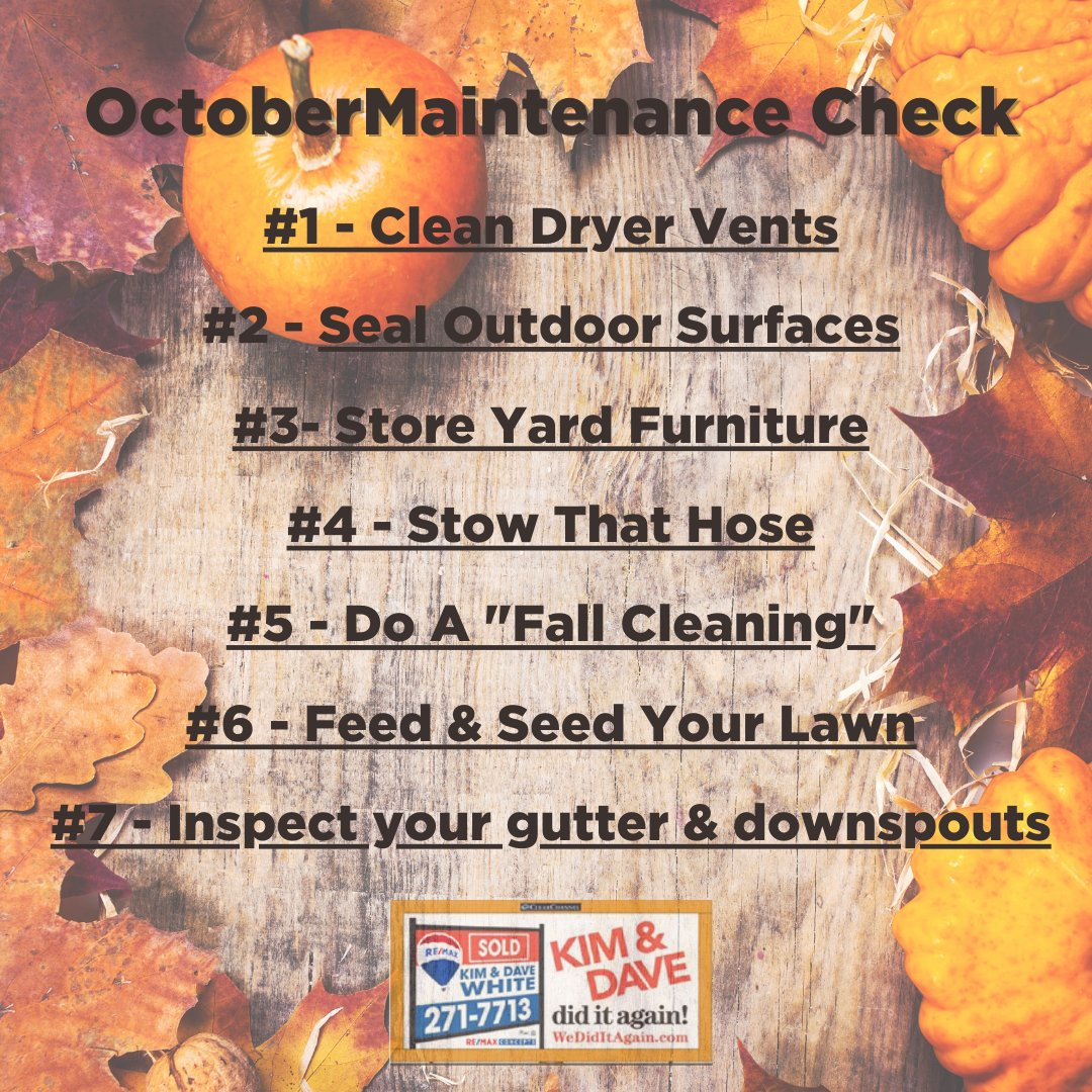 Tackle these home maintenance tasks this month!  -  #maintenance #tips #KimAndDave #WeDidItAgain #arrivehome #remax #REMAXConcepts #realestateagent #centraliowa #DesMoines #DSMRealEstate #houseexperts #home #realestate #homeowner #realtors https://t.co/g0xWADrGbu