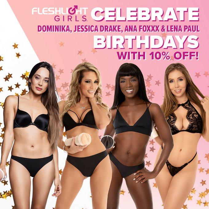 Celebrate Fleshlight Girls @DominikaChybov, @thejessicadrake, @AnaFoxxx, and @lenaisapeach's birthdays