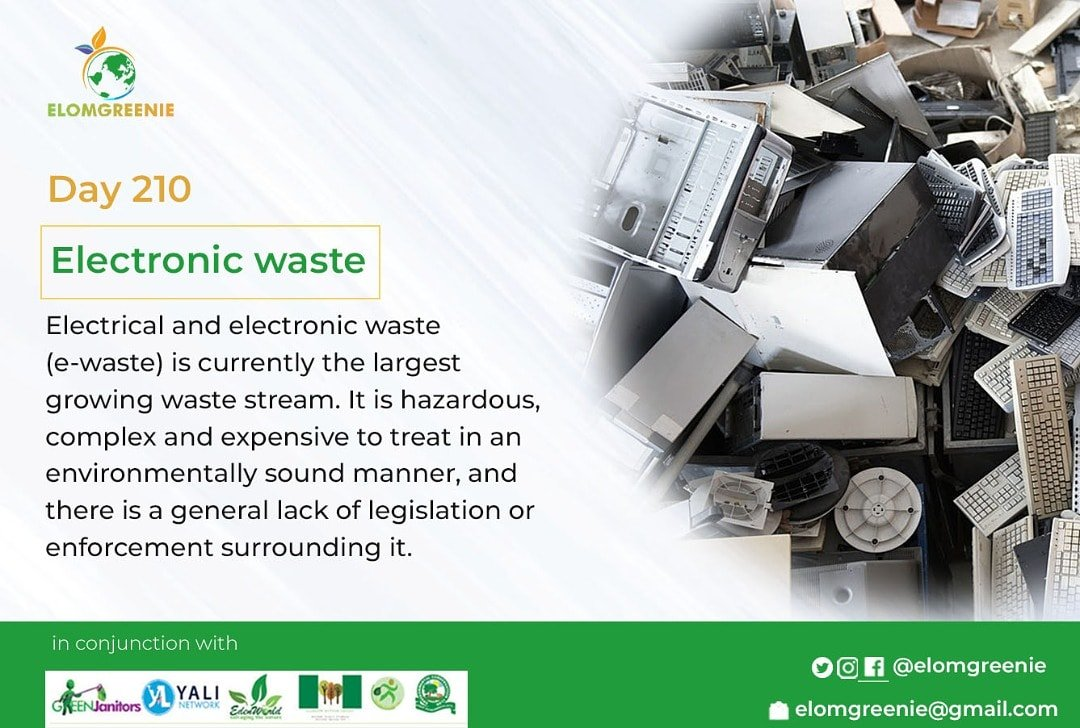 Day 210 @Elomgreenie   Electronic waste, also called e-waste, are forms of electric and electronic equipment that have ceased to be of value to their users or no longer satisfy their original purpose.  #remodel #household #ecofriendly #wastemanagement https://t.co/BNcURj7Poj