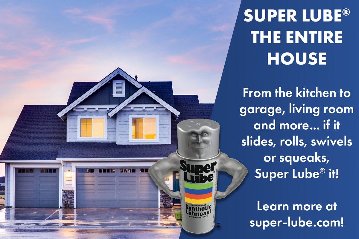 Super Lube® the entire house! From the kitchen to garage, living room and more... if it slides, rolls, swivels or squeaks, Super Lube® it!  Learn more at https://t.co/91MNeXWqjJ!  #SuperLube #Household #Home #House #Grease #Oil #Aerosol #Lubricant #SyntheticLubricant https://t.co/AAeEFD2GzG