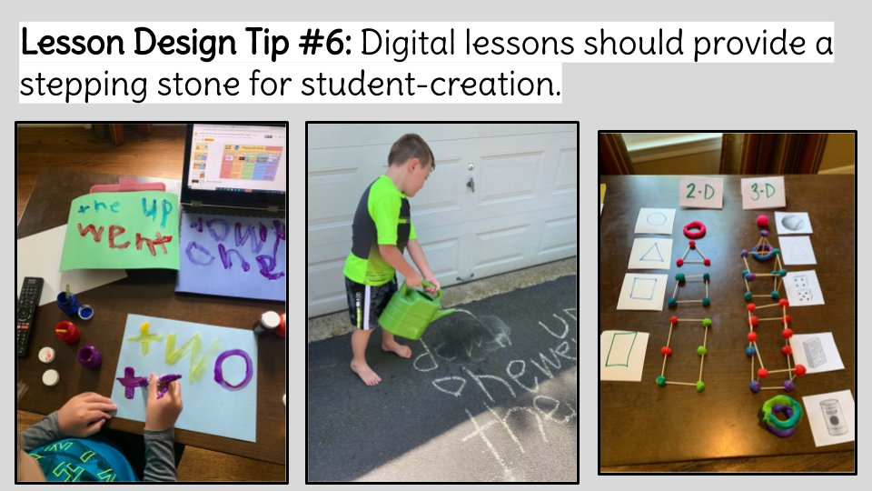 ✨BLENDED LESSON DESIGN TIP!✨  Digital lessons should provide a stepping stone for student-creation.  Catch ALL 10 tips in this blog post: https://t.co/DiO6SfAiue  #innovatingplay #gafe4littles #distancelearning #teachplaylearn #IsteLittleLearners #K2cantoo #blendedlearning https://t.co/H5XVpEtX3q