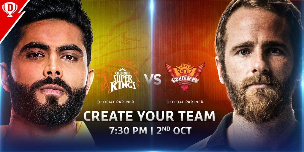 Will @imjadeja's spinning masterclass outfox #KaneWilliamson's batting horsepower? 🏏  Make your #Dream11 👉   #Dream11IPL #YahanSabSameHai #YeApnaGameHai #CSKvSRH @IPL @ChennaiIPL @SunRisers