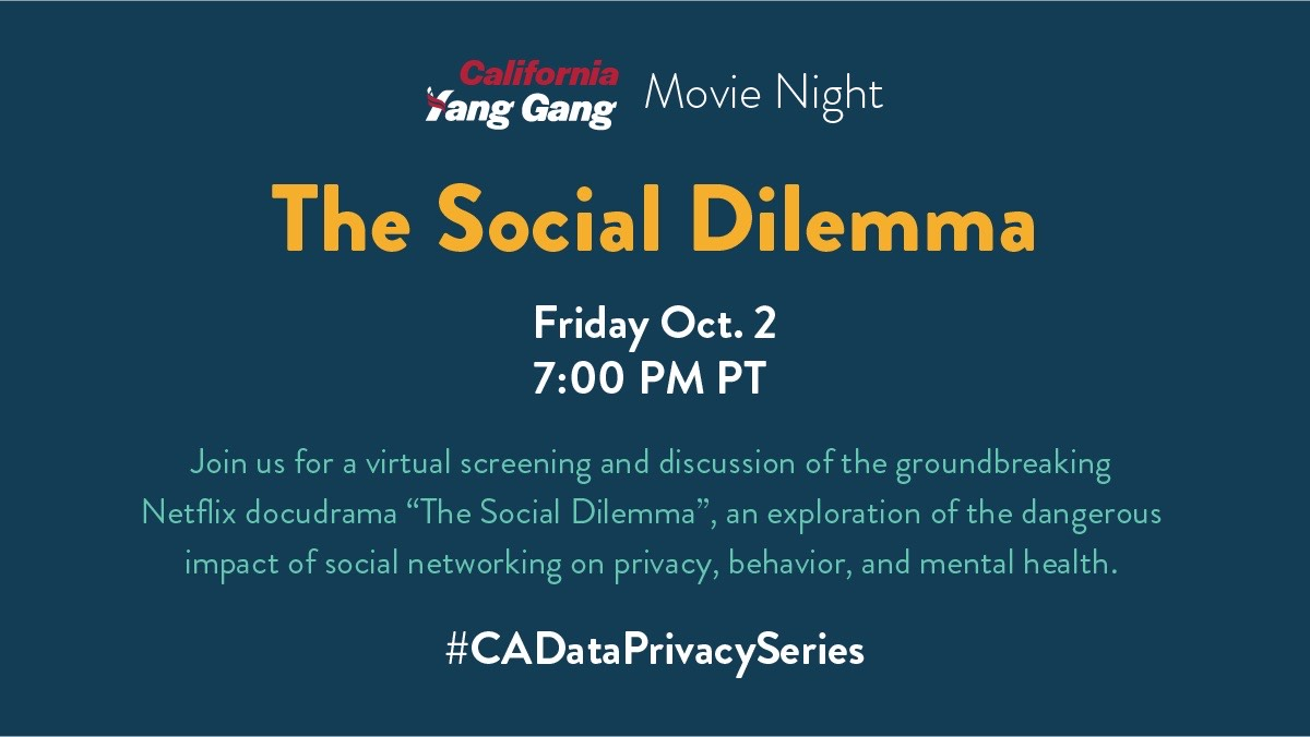 We're joining @humanityforyang for a virtual screening of #TheSocialDilemma tomorrow and a panel this Sunday with @AndrewYang to discuss consumer #privacy and #CAProp24. Learn more about each of the events here: https://t.co/ray6KsiGGu https://t.co/Wc7oDSg3dh