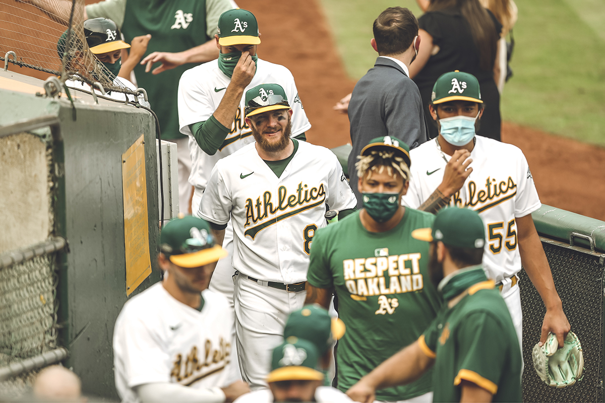 The A's celebrate their 6-4 win over the White Sox