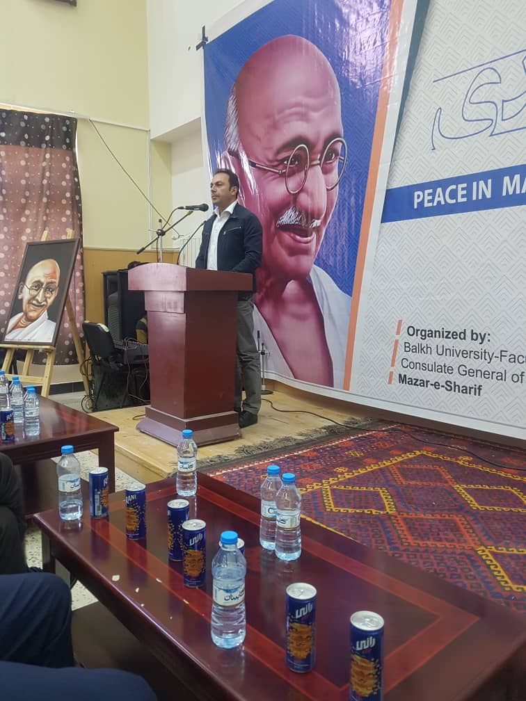 """#celebration of 151st #BirthAnniversary  of Mahatma Gandhi at Balkh University, Mazar-e-Sharif, Afghanistan. A Conference was held by Public Policy and Administration Dept to talk about """"Peace in Mahatma Gandhi's Thoughts"""" on Oct 1, 2020. #GandhiJayanti #MannMeinBapu  @MEAIndia https://t.co/oNBv5B5vfn"""