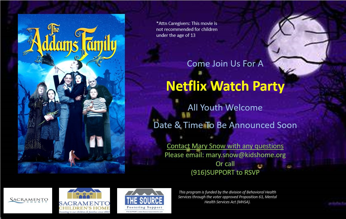 Halloween is upon us! 🎃 What's a better way to celebrate a fun month than to watch The Addams Family! More details coming soon, be ready to RSVP and have a chance at winning a Family Snack Box!!  #movies #AddamsFamily #snacks #events #Sacramento #Halloween #virtualevents https://t.co/kNIoMCLQVx