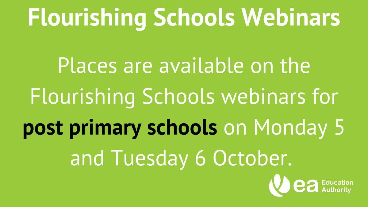 Places are available on the Flourishing Schools webinars for post-primary schools on Monday 5 & Tuesday 6 October. The webinars will be hosted by Joanna Brown (Safeguarding Board NI), an experienced trainer in Trauma Informed Practice. Register here: https://t.co/Q6CkEGQTmP https://t.co/Pi1O0UA00o