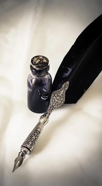 penna con boccetta d'inchiostro