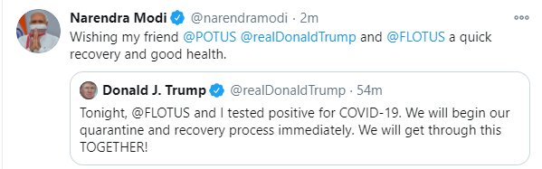 First India On Twitter Pm Narendramodi Wishes Quick Recovery To His Friend Donaldtrump And Melaniatrump From Covid 19 Trumphascovid Trump Trumptestspositive Trumptestspositive Https T Co 3ocui3fa7g