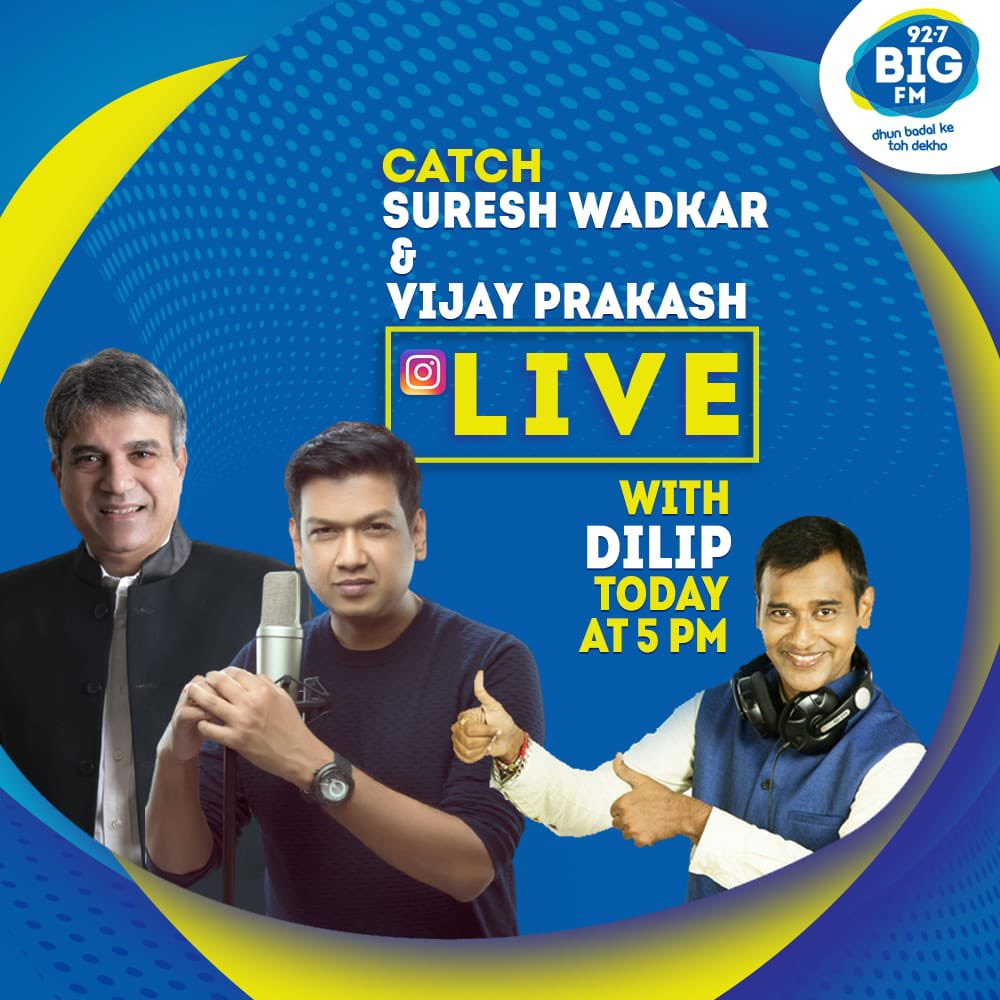 Join me and @rvijayprakash LIVE on Instagram at 5PM today, while we chat with @bigfmindia @RJDILIP