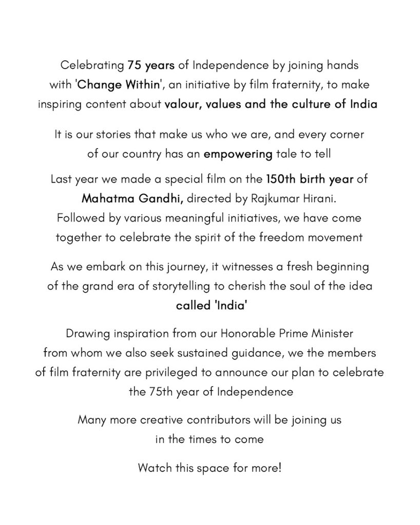 Honourable PM @narendramodi ji...we are humbled & honoured to curate stories of our great nation whilst we celebrate 75 years of India's independence @RajkumarHirani @aanandlrai @ektarkapoor #SajidNadiadwala #RohitShetty #DineshVijan #ChangeWithin #IndianFilmFraternity @PMOIndia