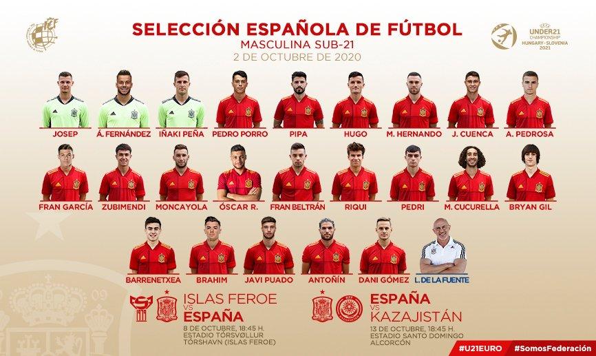 🚨 OFICIAL   Esta es la convocatoria de Luis de la Fuente para los partidos de la @SeFutbol Sub-21 ante Islas Feroe y Kazajistán del 8 y 13 de octubre.   🇪🇸#SomosEspaña  ⚽️ #SomosFederación