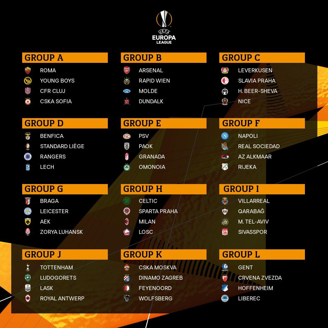 Radio Elshinta On Twitter Hasil Drawing Group Stage Europa League 2020 2021 Via Europaleague Elshintasport Https T Co K9fq49sont