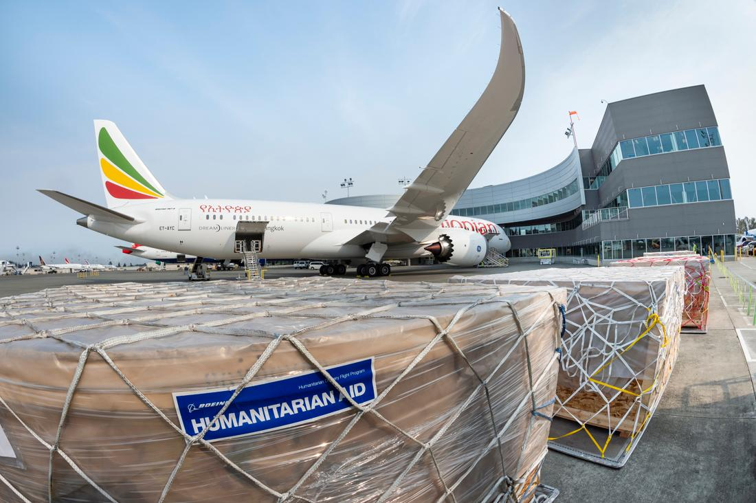 This brand new 787 #Dreamliner is on a mission to do good! With the help of @flyethiopian, this jet will deliver more than 20,000 pounds of humanitarian supplies to hospitals, clinics and charities in the Addis Ababa region.  Learn more: https://t.co/md02GGRRQD https://t.co/Vjv7RNeEYn