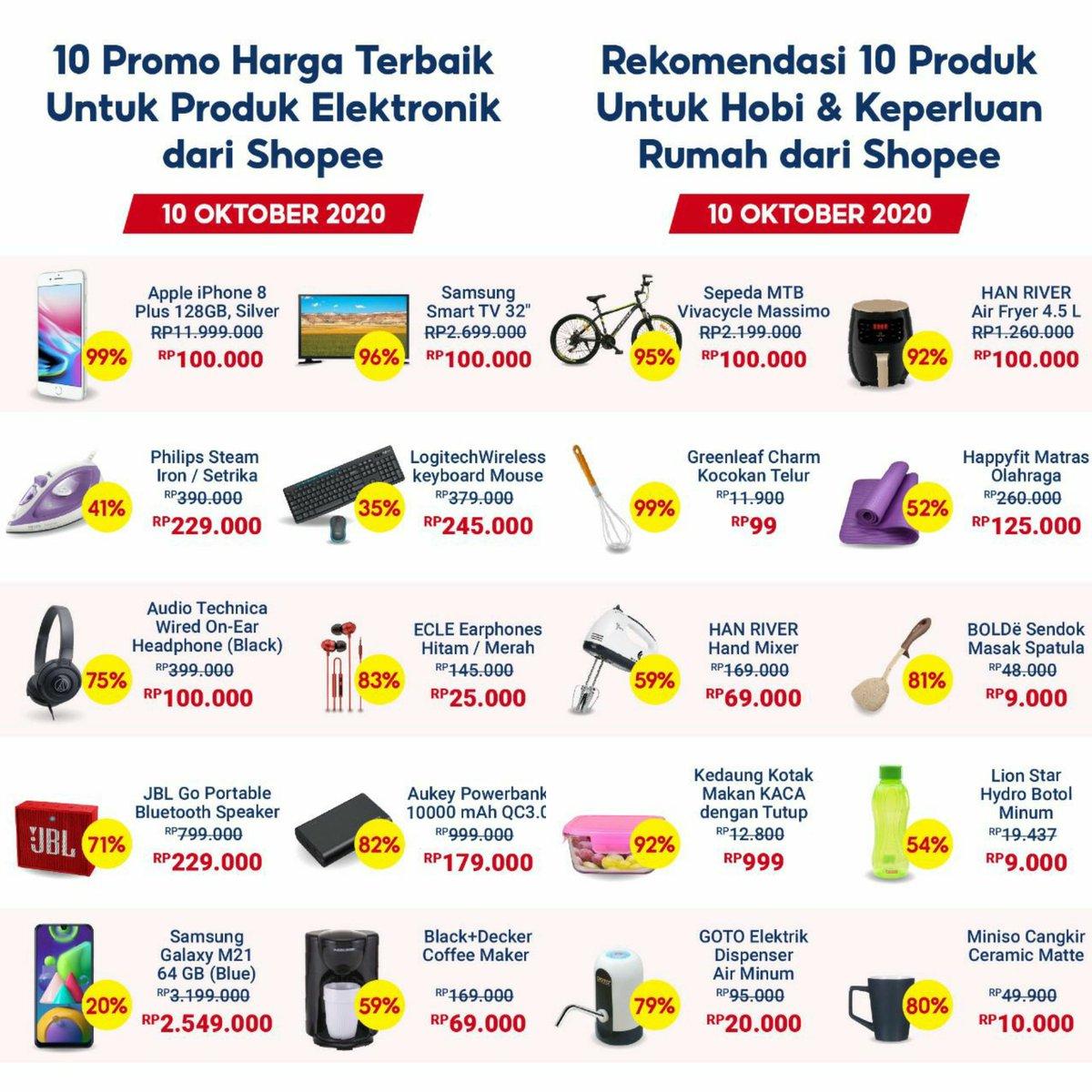 Racun Belanja Info Diskon Promo Cashback On Twitter Ini Daftar Promo Harga Terbaik Shopee Setiap Kategori Mulai 10 Oktober 2020 Berani Ngincer Flash Sale Iphone 8 Tv Samsung Sepeda Dll