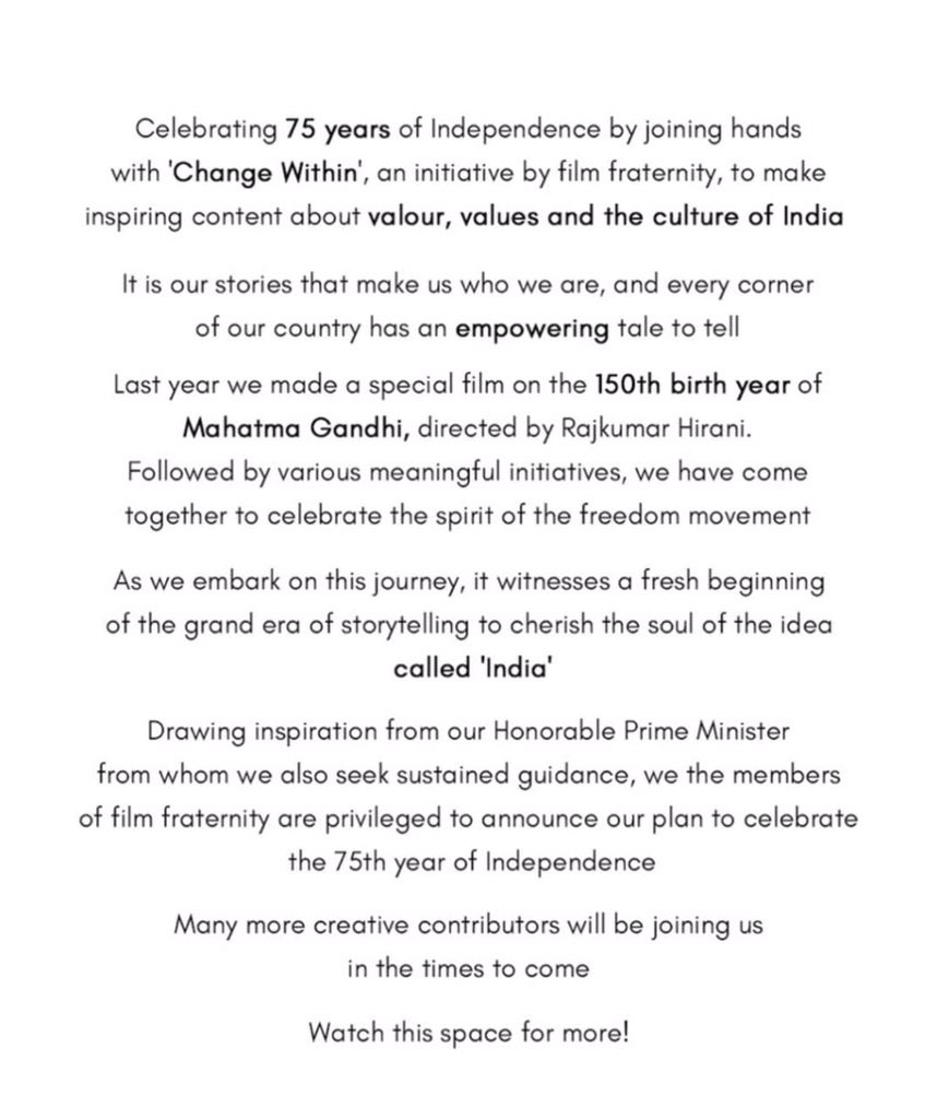 Hon. PM @narendramodi ji, whenever we've met, u've left us inspired with positive energy. As our great nation celebrates 75 yrs of Independence, we @ngemovies dedicate 70 yrs of our existence to this initiative & we look frwd to giving our best to the task you've bestowed upon us