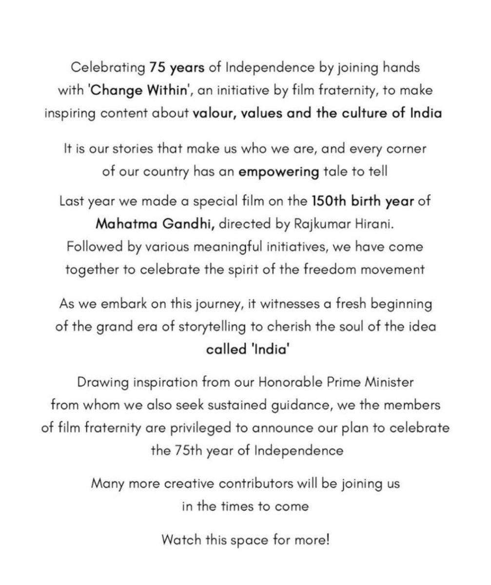 #SajidNadiadwala @RajkumarHirani @aanandlrai @ektarkapoor @karanjohar #RohitShetty #DineshVijan #ChangeWithin #IndianFilmFraternity @PMOIndia #GandhiJayanti #Gandhi150