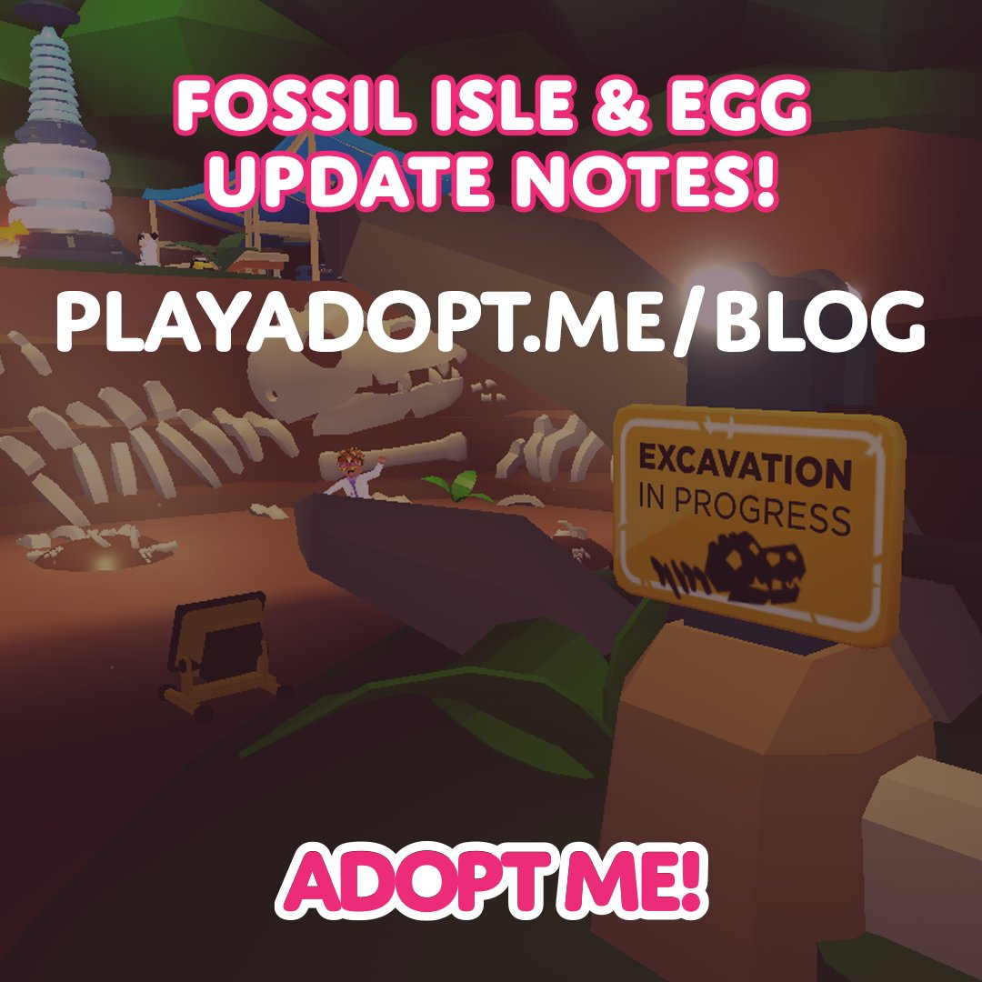 Adopt Me On Twitter The Fossil Isle Egg Update Notes Blogpost Is Live Find Out Everything About The Excavation Event In The Lead Up To The Fossil Egg Release Https T Co Ye1vbebilz