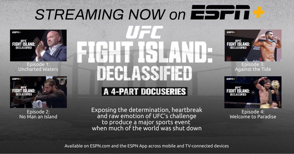 Streaming now on ESPN+: @UFC Fight Island: Declassified: https://t.co/CsGRi08RKd  More info: https://t.co/U8WnwVQxQp https://t.co/MV0K6slaPk