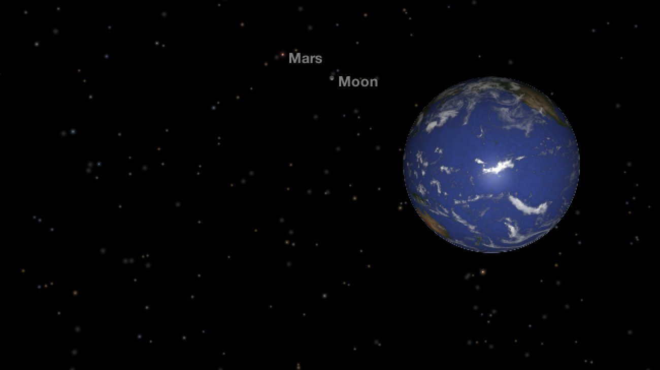 simulated view of Earth, Moon, and Mars lined up in space