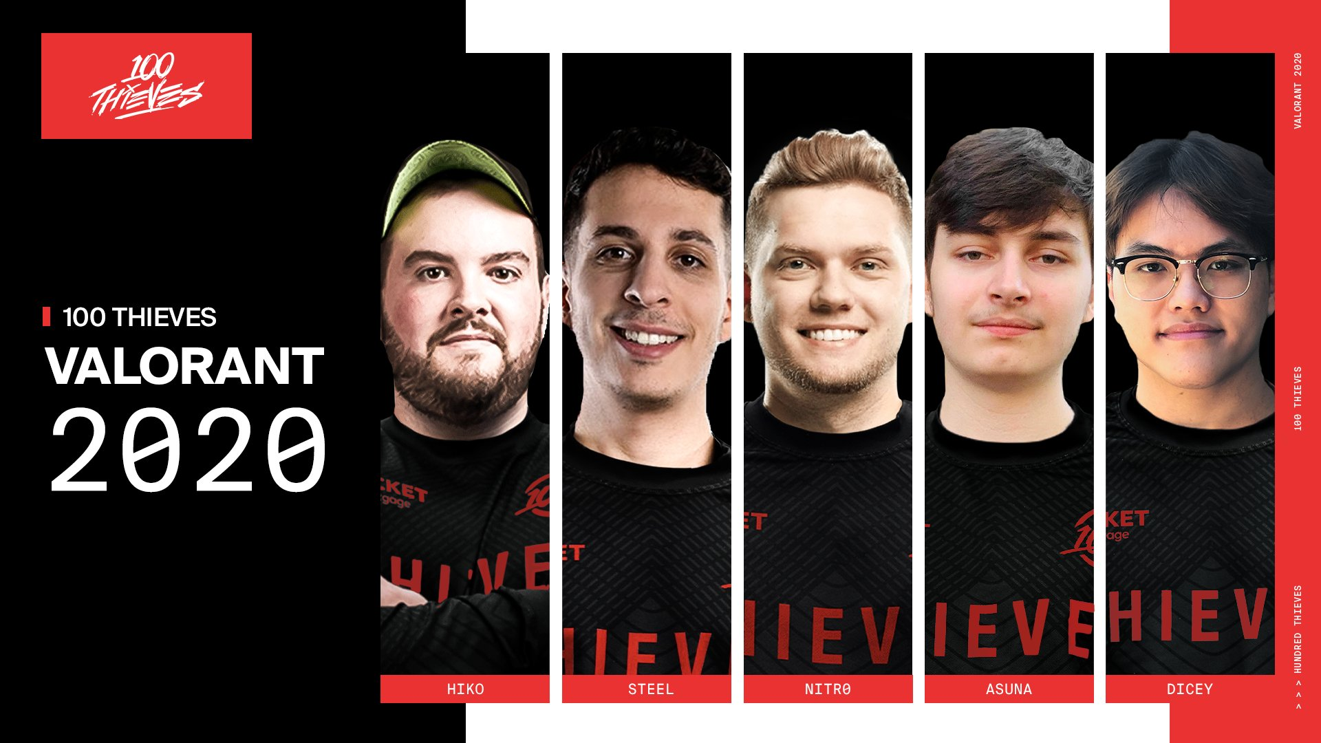 """100 Thieves on Twitter: """"Excited to announce the final two members of 100  Thieves VALORANT: Asuna & Dicey! With that, we have rounded out our  competitive VALORANT roster: @Hiko @JoshNissan @nitr0 @Asunaa @"""