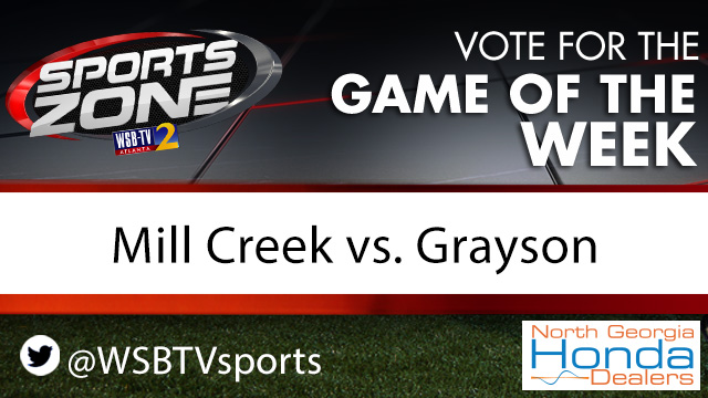 Should @WSBTVsports cover @MillCreekHawk vs. @grayson_fb as the Game of the Week on Oct. 9? Each RT is 1 vote. More info here: 2wsb.tv/highschoolfoot…
