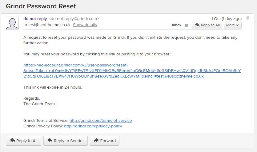 Grindr password reset hack