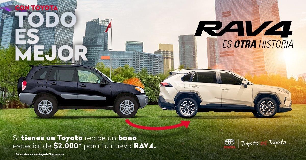 Vive nuevas experiencias junto a #RAV4   #ConToyotaTodoEsMejor, lleva tu Toyota usado a nuestros concesionarios, y recibe un BONO ESPECIAL de $2.000 para la compra de tu #NuevoRAV4 Más información aquí 👉:  https://t.co/J95c0Z2BZV  @CASABACA S.A @Toyocosta  Importadora Tomebamba https://t.co/VkFw4hQ9P6