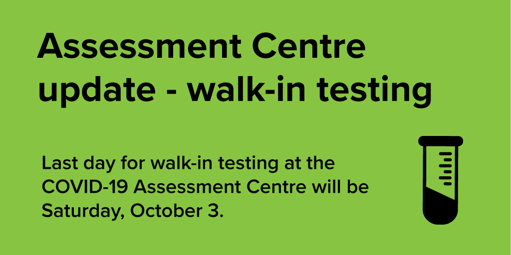 test Twitter Media - IMPORTANT UPDATE: Last day for walk-in testing at the #COVID19 Assessment Centre in #ygk is Sat. Oct. 3. Appointment-only testing begins Sun. Oct. 4.  Upon arrival you will be screened & assigned an appointment time. Info about online booking to follow soon. Hours: 9am to 4pm. https://t.co/eCiDyE3Tll
