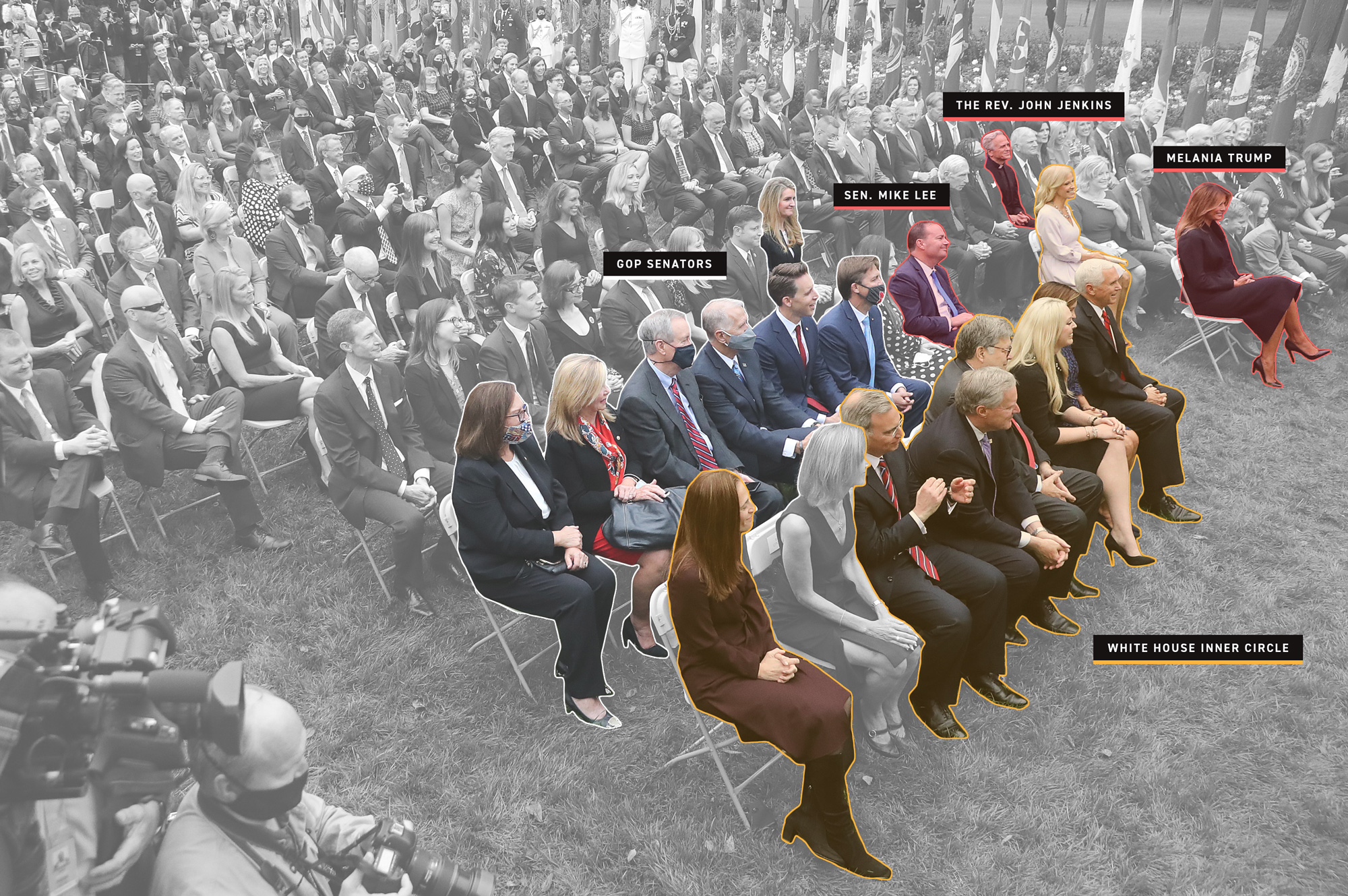 A photo with annotation from 9/26 Amy Coney Barrett announcement, with notes on who has tested positive for COVID-19 and their proximity to lawmakers and others.