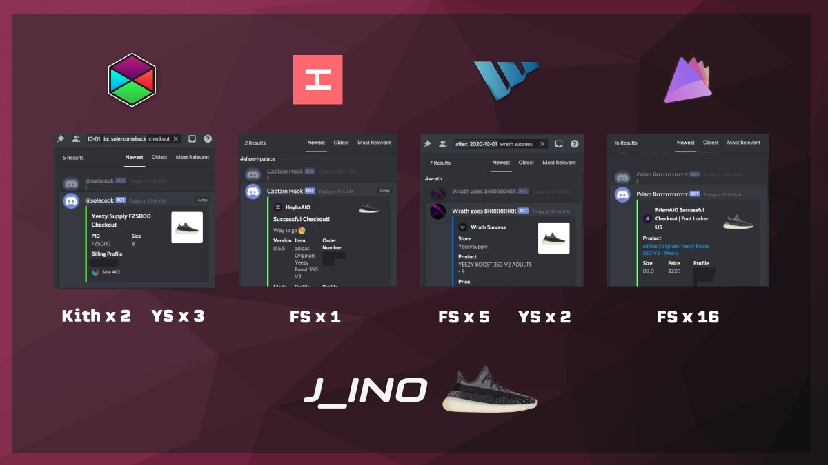 A lot of fs orders got cancelled, gotta rework my profiles again... All bots below worked extremely well today, I def would've bought more if my capital is not limited.  S/O to @soleaio @HayhaBots @wrathbots @PrismAIO   Proxies: @Rainbow_Proxy @Hex_Proxy https://t.co/WDMj4oFFwN