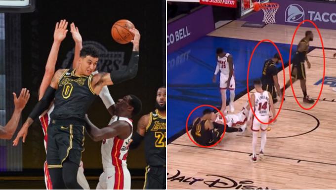 【影片】庫茲馬想模仿魔術強森,腦後傳球失誤後摔倒,有誰注意到詹眉的舉動?