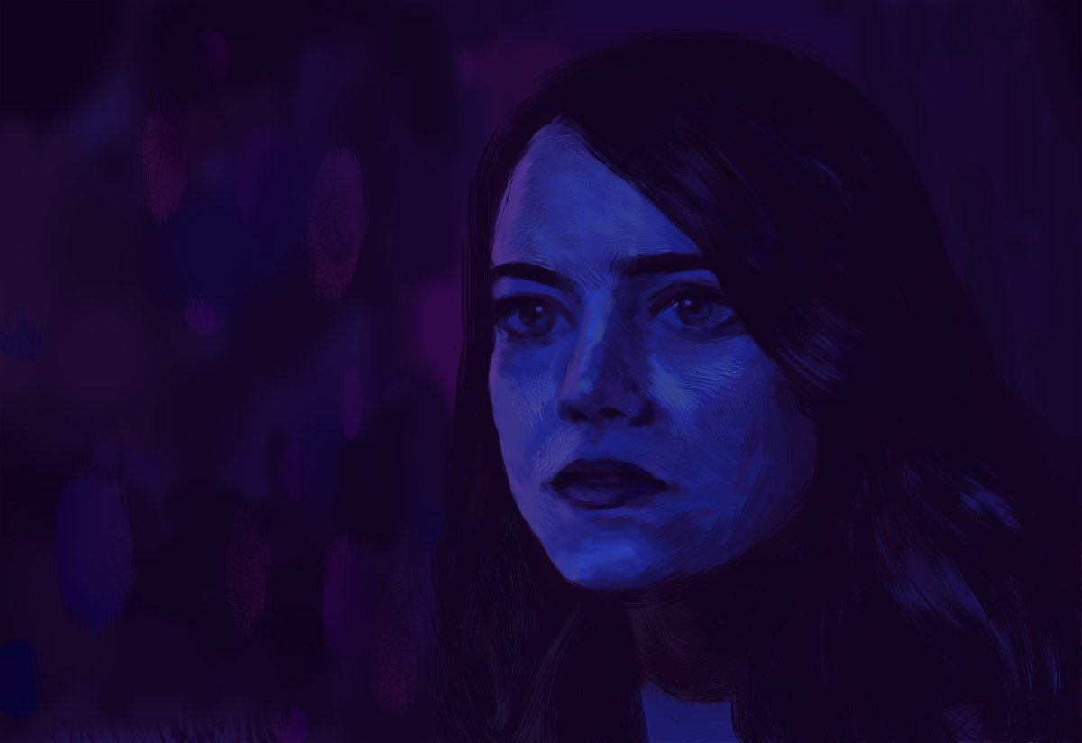 """For """"the ones who dream"""", """"La La Land"""" (2016) is a whimsical musical set in modern day Los Angeles. #lalaland #emmastone #cityofstars #damienchazelle #movie #film #musical #portrait #illustration #photoshop https://t.co/sWlUKdGjnX"""