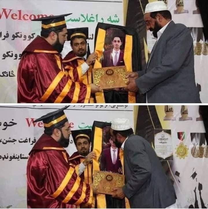 Cost of war in #Afghanistan 🇦🇫  A father receiving diploma of his son who was martyred before graduation ceremony. 💔 https://t.co/uDdMZBQwlm
