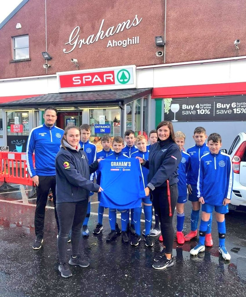 Thank you to Graham's @SPARNI Ahoghill for their continued support of the club. 2007s with their new club jackets pictured 👏🔵⚪ https://t.co/DVVqFCAecu