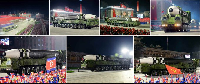 New intercontinental ballistic missile, larger then Hwasong-15 (also paraded, up to 13000km range, last flight-test in Nov 2017); pictures from Rodong Shinmun & NK News.