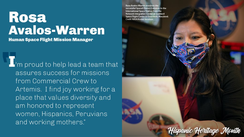 It's #HispanicHeritageMonth! During this month, we celebrate the important contributions of Hispanic members of @NASA's workforce. Recently, Human Space Flight Network mission manager Rosa Avalos-Warren played a pivotal role in @SpaceX Demo-2, helping to provide TDRS services!