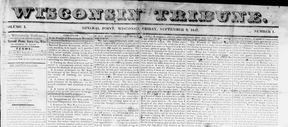 On September 3, 1847, just months before the territory gained statehood, Editor George Bliss launched the first issue of the Wisconsin Tribune. #ChronAm https://t.co/S3LaZWULOR @NEH_PresAccess #NationalNewspaperWeek  #WisconsinHistory https://t.co/DuDqMWiePF