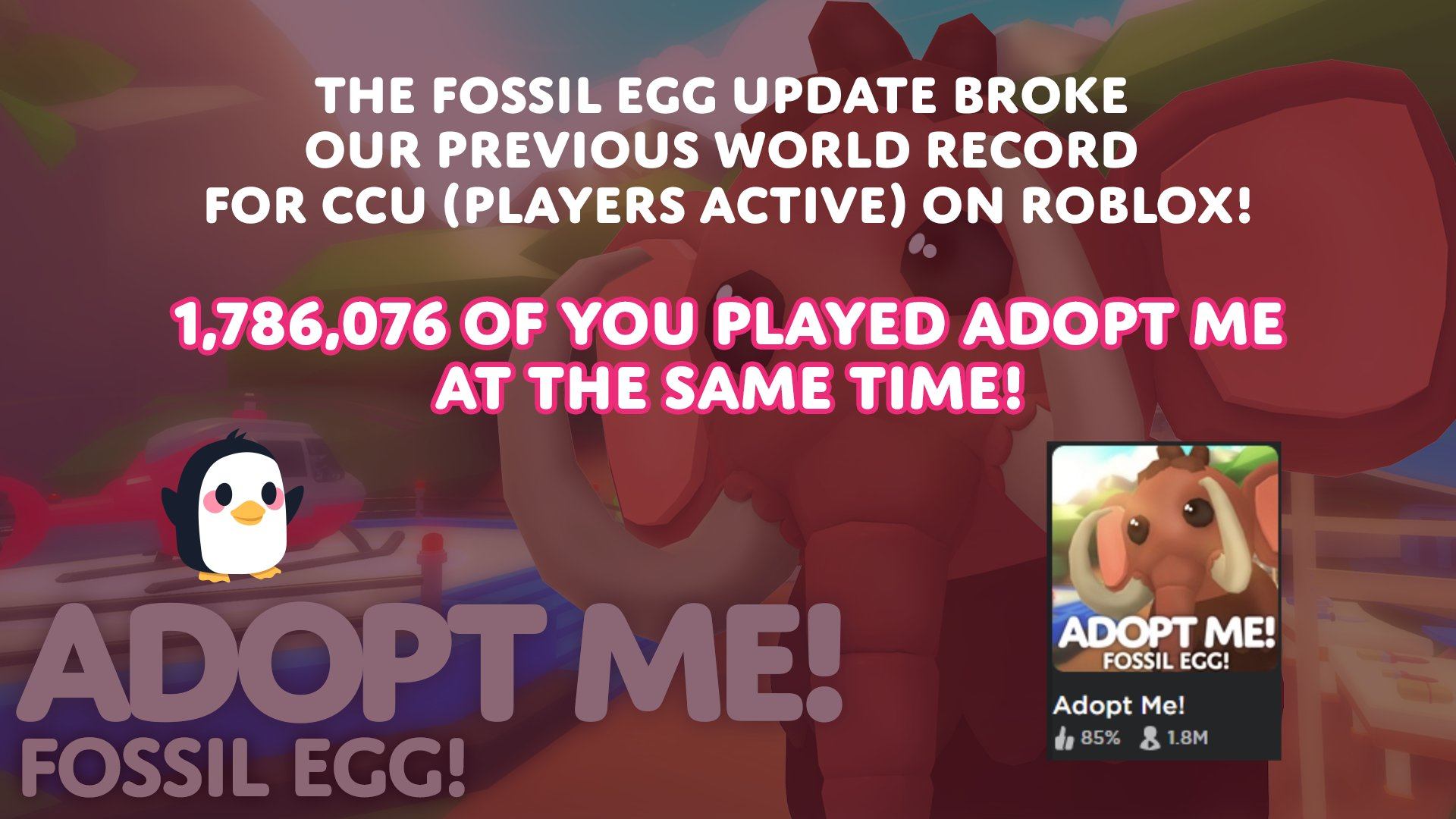 Adopt Me On Twitter 1 7m Of You Played The Fossil Egg Update At The Same Time We Can T Thank You All Enough For Loving The New Update As Much As We