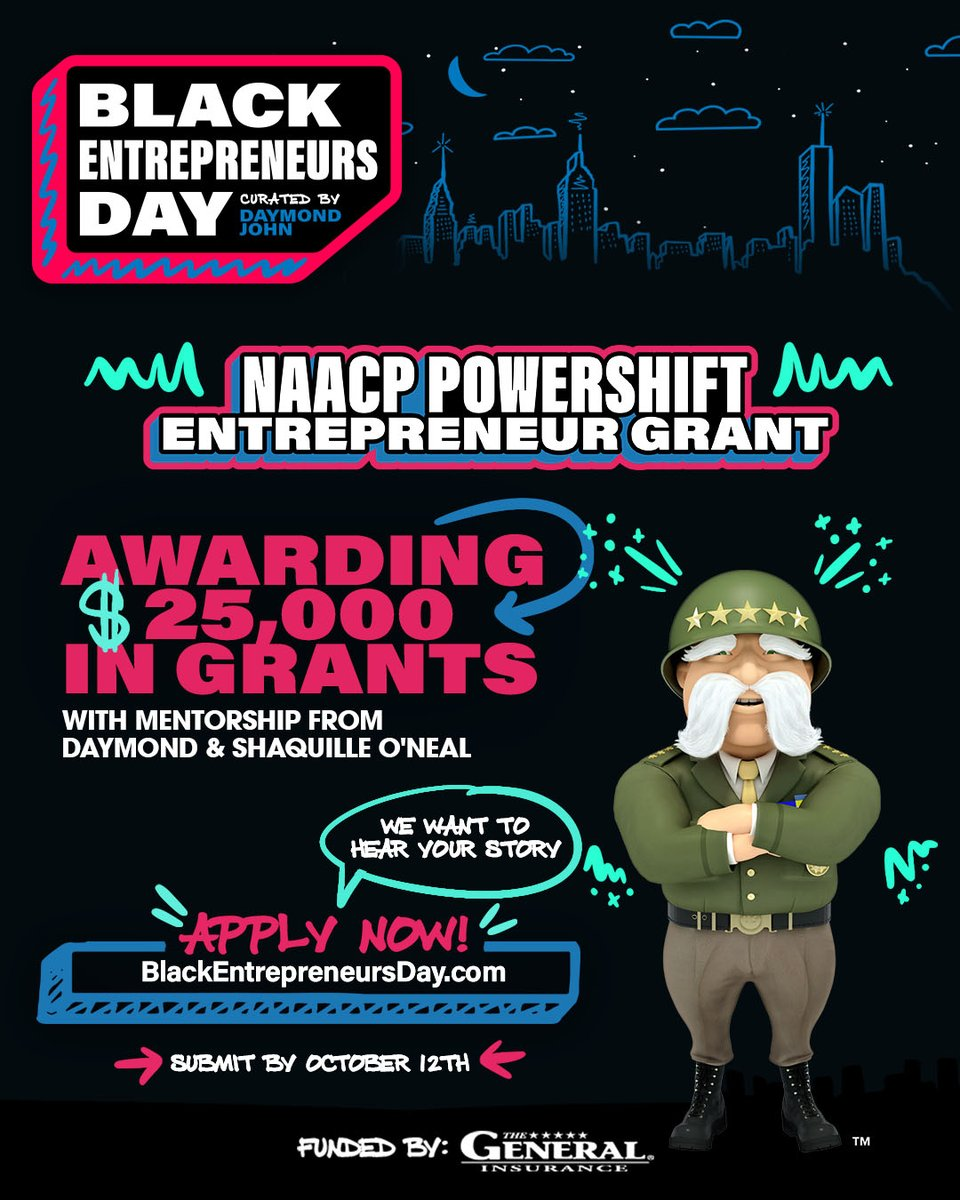 My friends from @thegeneralauto are partnering with @NAACP and @BlackEntrepDay to award a $25,000 grant to help a small business owner. In addition to the funding, I will personally mentor this winner alongside @thesharkdaymond to help their business grow.