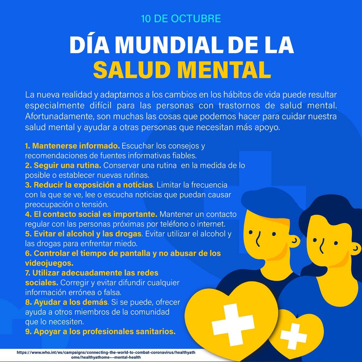 Favorezcamos entornos y condiciones que propicien la #SaludMental y permitan a las personas adoptar y mantener modos de vida saludable.  #DíaMundialdelaSaludMental https://t.co/gysz8b2UAU