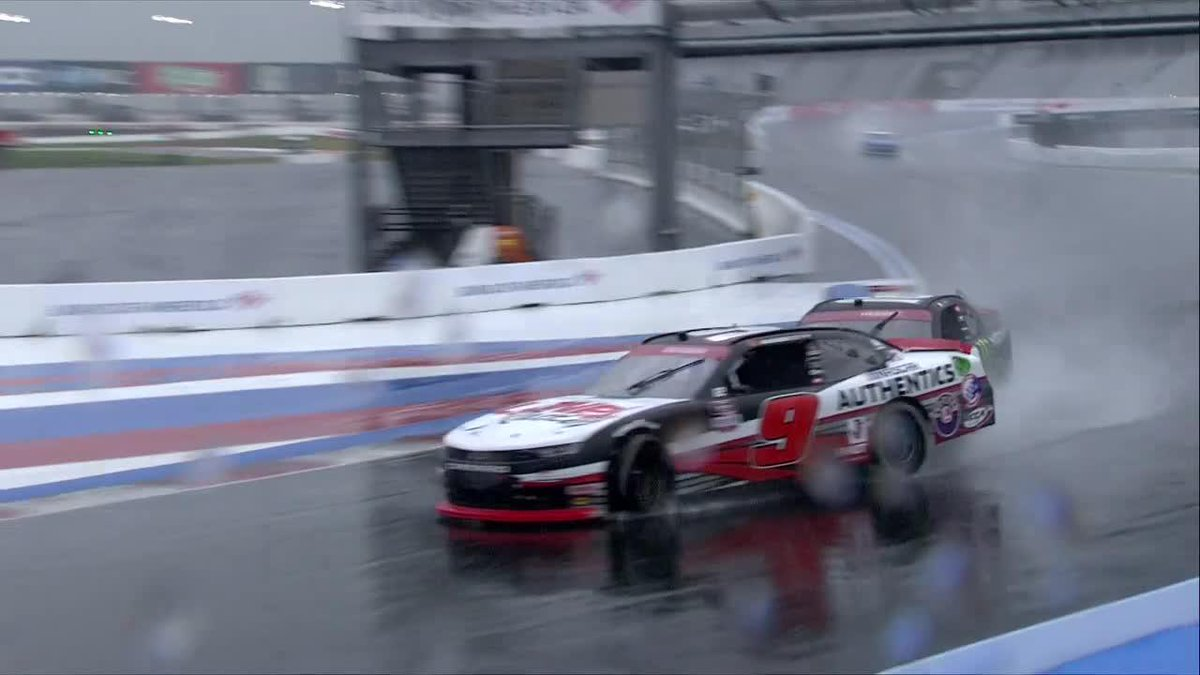 Contact between the Las Vegas contingent of @rileyherbst and @NoahGragson!! 💥 The rainy #XfintySeries Roval continues on NBC and nas.cr/NBCSportsLive