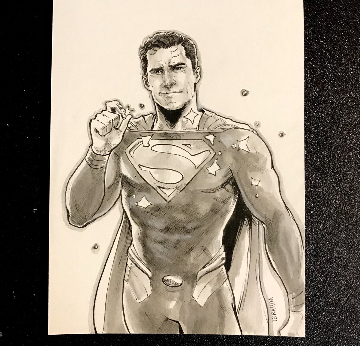 Today's #Kryptober drawing: when they know you're bulletproof, but they try it anyway.