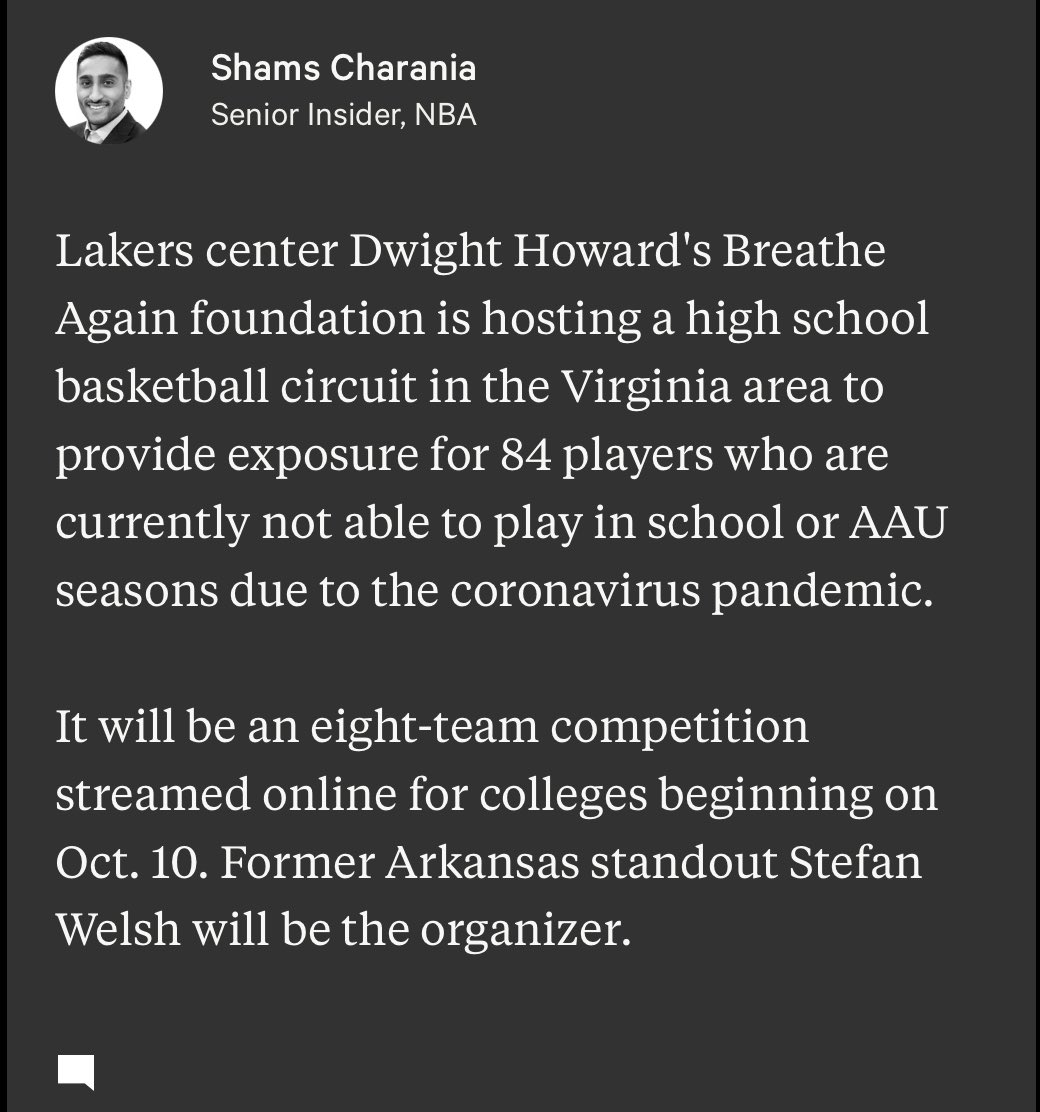 Lakers center Dwight Howard and his Breathe Again foundation will host a high school basketball circuit in Virginia area to provide exposure for 84 players who are currently not in school/AAU leagues due to coronavirus pandemic. https://t.co/D5UsmQSCcC