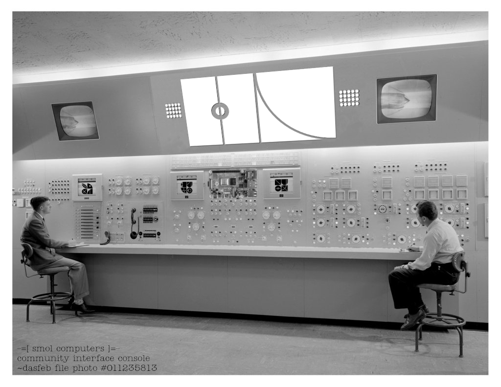 An image of a large, early computer control panel with the ~dasfeb sigil on the upper wall and a number of planet sigils on display readouts