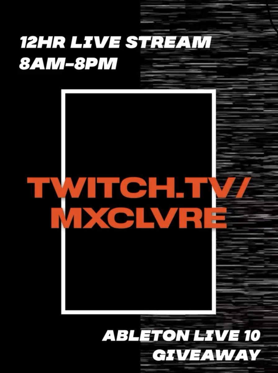 Check out @mxclvre #twitch stream! He making beats and doing a #ableton10 #giveaway he's on now until 8pm pst! Check him out! https://t.co/V77V8w6fKr