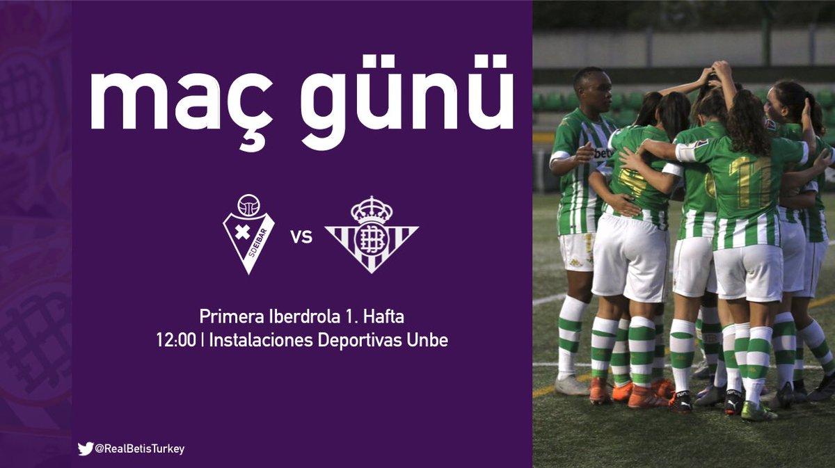 M A Ç  G Ü N Ü | ⚔️  @PrimerIberdrola ilk hafta maçında Eibar'a konuk oluyoruz.   Hocamız @piercherubino'ya ve takımımıza güveniyoruz. Hedef 3 puan!  #BetisFeminas #VuelveElFutFem