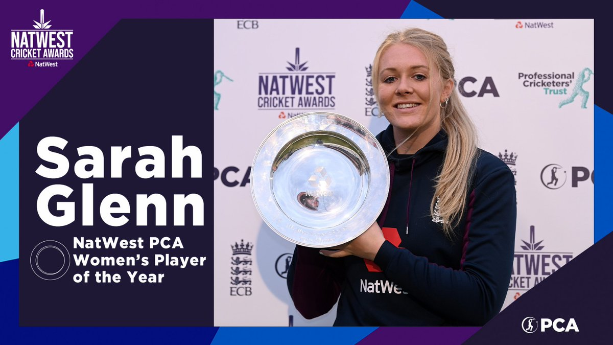 🏆 @Lg3Sarah 🏆  The 2020 NatWest PCA Women's Player of the Year 👊  💫 An extraordinary 12 months for one of @englandcricket's brightest young stars!  #NatWestCricketAwards https://t.co/wK4A2E7mc7