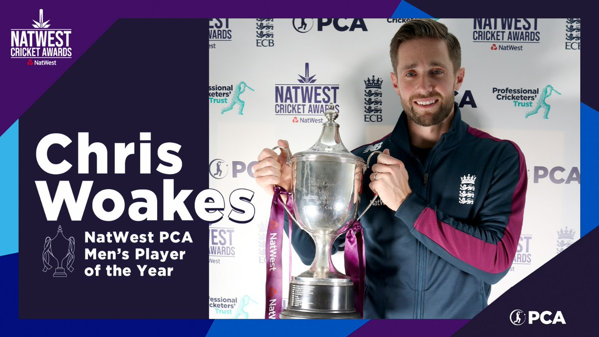 🏆 @chriswoakes 🏆  🦁 The @englandcricket all-rounder has stepped into the limelight to make 2020 his own.  A worthy recipient of the most prestigious individual prize in English cricket! 👏  #NatWestCricketAwards https://t.co/CbCzMcsZR1